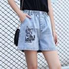 Elastic Waist Printed Denim Shorts