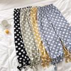 Polka Dot Lace-up Chiffon Cropped Pants
