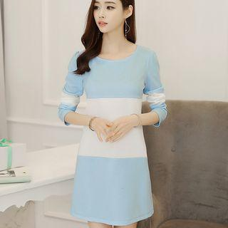 Color Panel Long Sleeve Dress