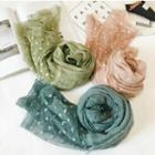 Lace Panel Linen Cotton Scarf