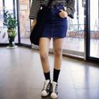 Stitched Denim Mini Skirt