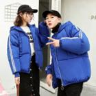 Couple Matching Contrast-trim Hooded Padded Jacket