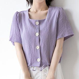 Square-neck Short-sleeve Buttoned Top Purple - M