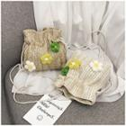 Flower Detail Woven Bucket Bag