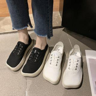 Platform Square Toe Lace Up Sneakers