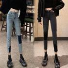 Washed Cropped Paneled Skinny Jeans