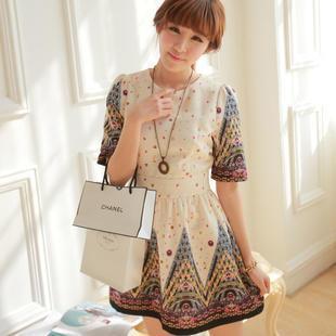 Elbow-sleeve Printed A-line Dress