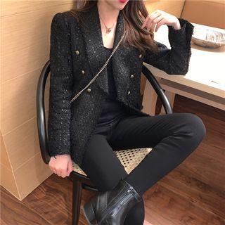 Long-sleeve Plain Tweed Blazer