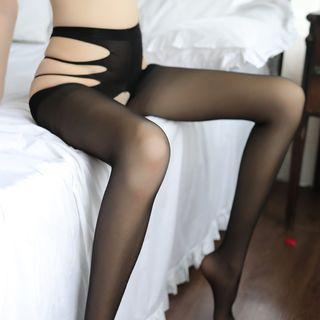 Cut Out Tights Black - One Size