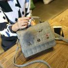 Stitched Faux Leather Shoulder Bag
