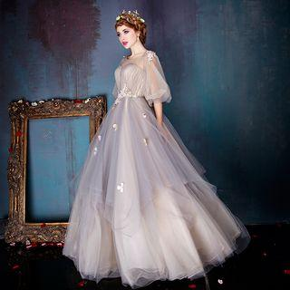 Mesh Lantern Sleeve Floral Ball Gown