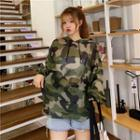 Camo Hooded Long-sleeve Top As Shown In Figure - One Size