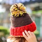 Color Panel Bobble Knit Beanie