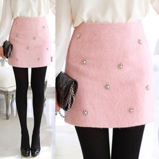 Beaded Wool Blend Mini Skirt