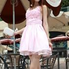 Sleeveless Paneled Rosette Beaded Dress