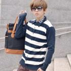Plaid-trim Striped Knit Shirt