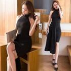 Sleeveless Dip-side Sheath Dress