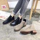 Faux Leather Side-zip Ankle Boots
