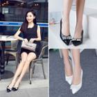 Rhinestone Bow Pointed Pumps
