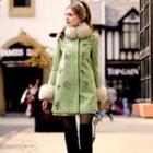Faux-fur-collar Sequined Coat