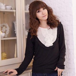 Two-tone Ruffle-accent Top