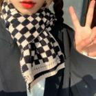 Check Knit Scarf Black & Beige - One Size