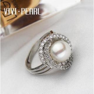 Freshwater Pearl Rhinestone Sterling Silver Ring