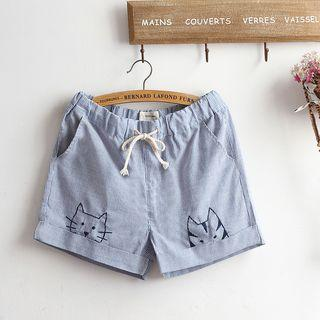 Embroidered Striped Drawstring Shorts
