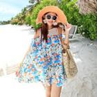 Floral Print Cutout Shoulder Chiffon Dress
