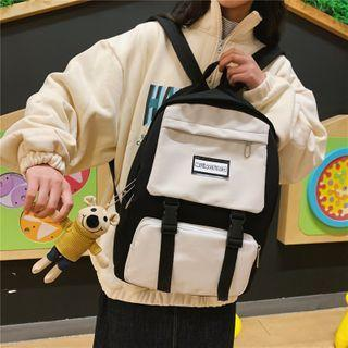 Two-tone Lettering Cotton Backpack