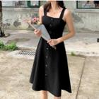 Button Strappy A-line Dress