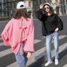 Bow Plain Long-sleeve Sweatshirt