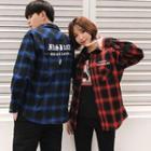 Couple Matching Detachable Hood Plaid Shirt