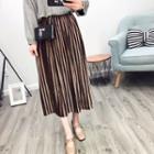 Velvet Pleated Maxi Skirt
