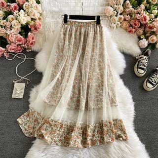 Mesh Panel Floral Print A-line Midi Skirt