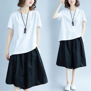 Set: Linen Short-sleeve Top + Skort