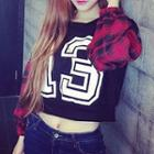 Plaid Panel Lettering Cropped Pullover