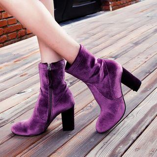 Chunky-heel Velvet Short Boots