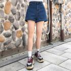 High-rise Cuff-hem Denim Shorts