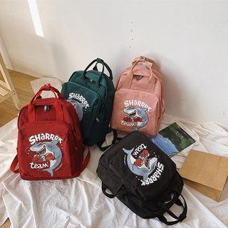 Shark Print Zipped Canvas Backpack