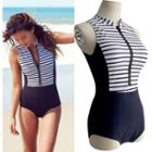 Striped Half-zip Swimsuit