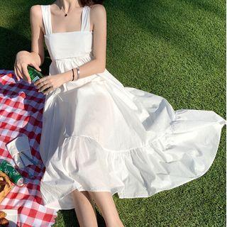Square Neck Strappy Midi A-line Dress