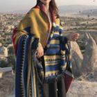 Patterned Shawl Blue & Camel - One Size