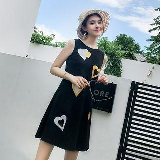 Heart Print A-line Mini Tank Dress