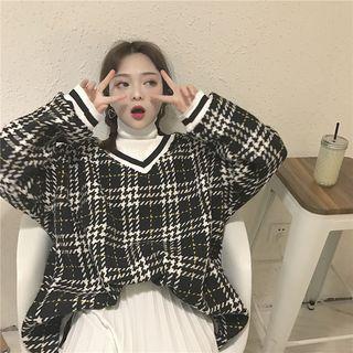 Plaid V-neck Oversized Pullover