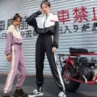 Set: Color Block Lettering Windbreaker + Striped Cropped Harem Pants