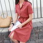 Short-sleeve Linen Blend Shirtdress With Sash