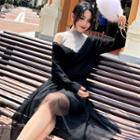 Set: Knit Top + Sleeveless Sheer Panel Midi Dress