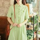 Short-sleeve Drawstring Embroidered Dress