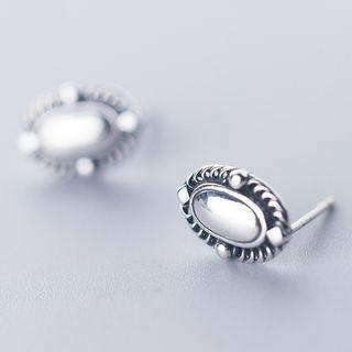 925 Sterling Silver Button Earring As Shown In Figure - One Size